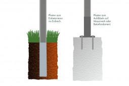 """Zaunpaket DSM 6/5/6 """"leicht"""" verzinkt 10 m zum Einbetonieren mit Deckleiste (D) kein Eckpfosten 630 mm Höhe"""
