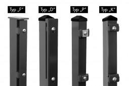 """Zaunpaket DSM 8/6/8 """"schwer"""" anthrazit 12,5 m zum Aufdübeln mit Deckleiste (D) zwei Eckpfosten 1230 mm Höhe"""