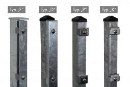 """Zaunpaket DSM 8/6/8 """"schwer"""" verzinkt 12,5 m zum Einbetonieren mit Klemmlasche (K) ein Eckpfosten 2430 mm Höhe"""