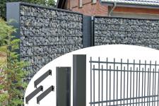 Gabionen-Bausatz Höhe 2030 mm Breite 2500 mm Tiefe 300 mm Seitenblech anthrazit ohne Abdeckblech