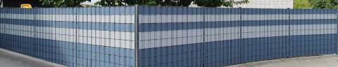 Doppelstabmattenzaun mit Sichtschutzstreifen
