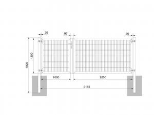 """Universaltor """"schwer"""" 2-flg. asymmetrisch anthrazit H 1200 x B 3163 mm"""