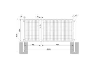 """Universaltor """"schwer"""" 2-flg. asymmetrisch anthrazit H 1400 x B 3163 mm"""
