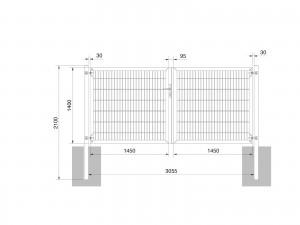 """Universaltor """"schwer"""" 2-flg. symmetrisch anthrazit H 1400 x B 3063 mm"""