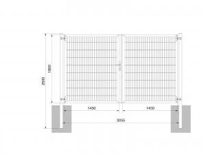 """Universaltor """"schwer"""" 2-flg. symmetrisch anthrazit H 1800 x B 3063 mm"""