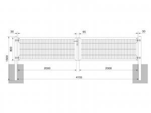 """Universaltor """"schwer"""" 2-flg. symmetrisch anthrazit H 800 x B 4163 mm"""