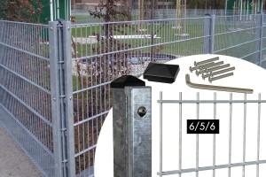 """Zaunpaket DSM 6/5/6 """"leicht"""" verzinkt 10 m zum Einbetonieren mit Deckleiste (D) ein Eckpfosten 1830 mm Höhe"""